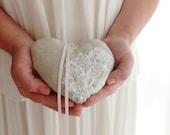 Heart shaped linen ring bearer pillow, linen & lace Ring Bearer, Ring pillow in linen, Rustic Weddings, shabby chic ring bearer pillow