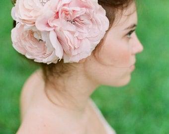 Crystal Silk Flower Headpiece, Blush pink rhinestone headpiece
