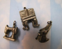 Vintage Sewing Machine Table and Rocking Chair Charms Jewellery Jewelry