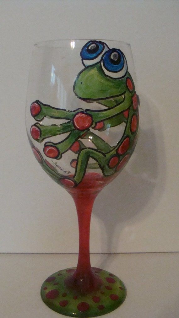 A Unique Hand Painted Wine Glass In A Whimsical By