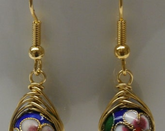 Blue Cloisonné with Brass Herringbone Wrapped Earrings-E83
