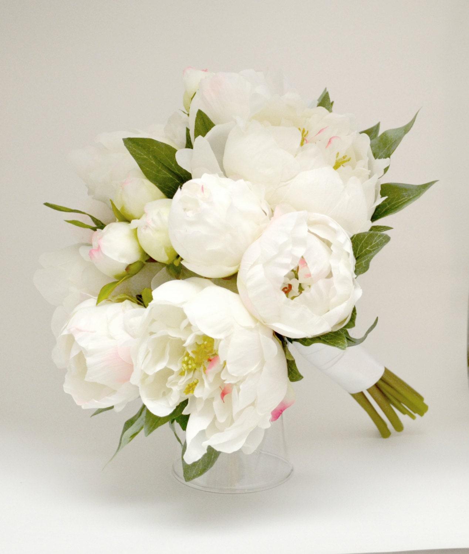 Peony Bouquet White Ivory Cream Peony Bouquet High