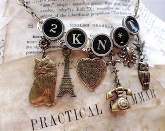 CUSTOM ORDER ~ 2 KNIT Necklace Vintage Typewriter Key Jewelry Knitting Theme Cat Eiffel Heart Fleur de Lis
