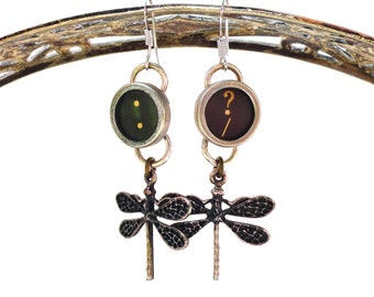 Dragonfly Earrings Typewriter Key Jewelry Steampunk Retro Vintage Pinup Tattoo