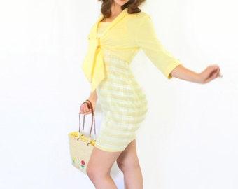 80s Yellow Dress Set. Size Medium. Twee Dress Tied Shirt Set Yellow White. Plaid Sundress. Mad Men Fashion. Summer 2 Pc set. Picnic Dress.