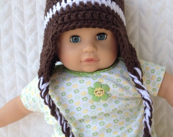 Baby Football earflap hat with braided tassels