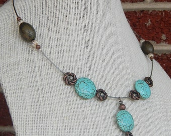 Recycled Bicycle Shifter Cable with Blue Magnesite and Brown Beads
