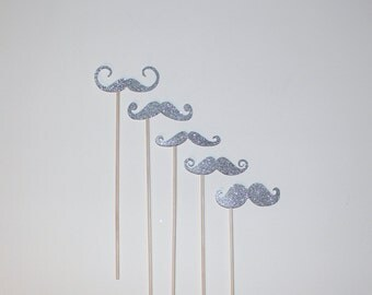 Mustache Photo Booth Props - 5 Silver Glitter Mustaches