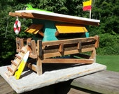 Miami Beach Lifeguard Shack Reclaimed Pallet Wood Birdhouse Lifeguard on Duty Beach Shack