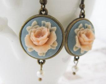 Blue & Pink Cameo Earrings - Vintage Rose Swarovski Pearl Regency Style