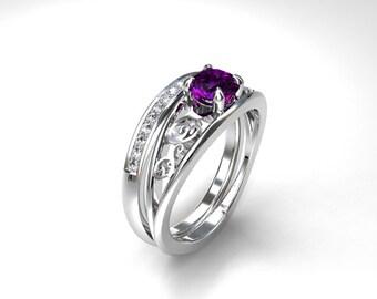 engagement ring set amethyst engagement diamond wedding purple engagement solitaire filigree - Purple Diamond Wedding Ring