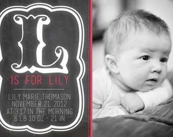 Baby Girl/Boy Birth Announcement- PERSONALIZED