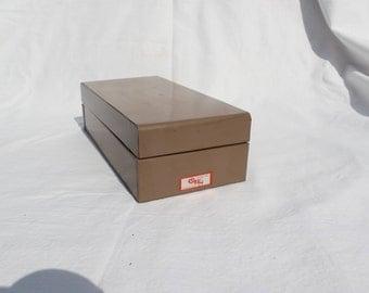 Vintage Index Box Metal Office BoxI Index Card Holder Mid Century Retro Office Decor