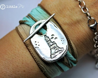 Beach Jewelry ~Nautical Jewerly ~ The Cape Henry Silk Wrap Bracelet by 2 little P's
