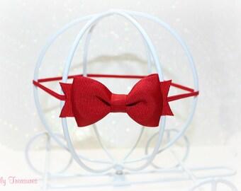 Mini Snow White Red Bow Headband. Baby Headband. Newborn Headband. Girl Headband. Photo Prop.
