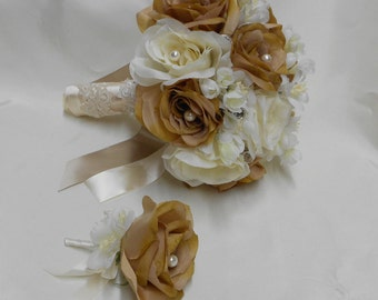 Wedding Bridal Bouquet Your Colors 2 pieces Champagne Gold Mustard Rose Pearl Lace with Boutonniere Centerpiece Accessories FREE SHIPPING