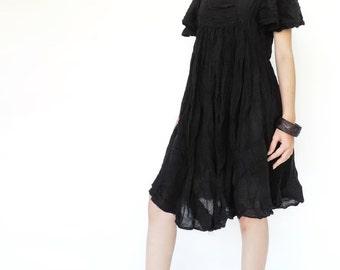 NO.9 Black Cotton Bell Sleeves Tunic Dress, Day Dress, Little Black Dress