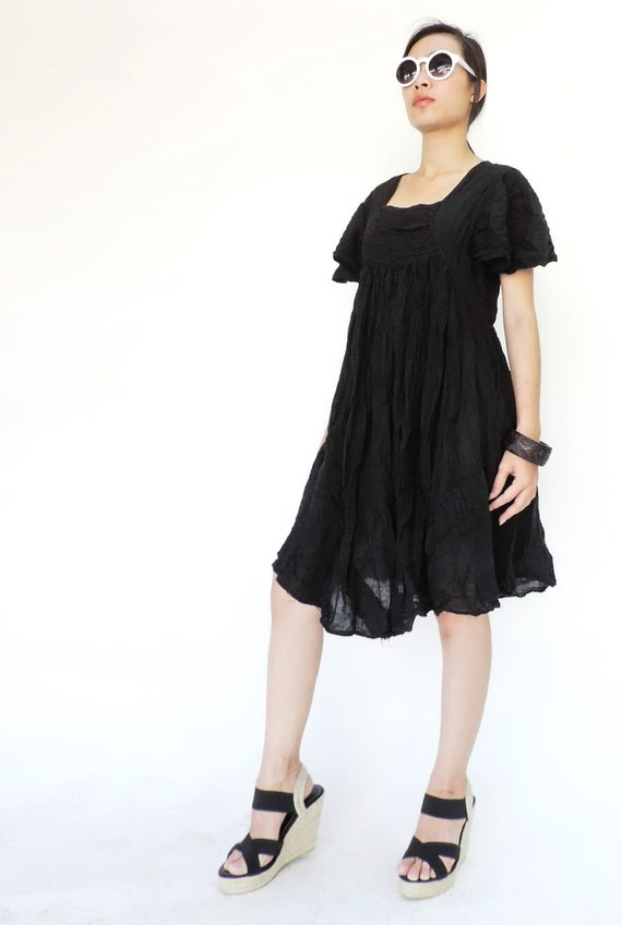 NO.9 Black Cotton Bell Sleeves Tunic Dress, Day Dress, Little Black Dress