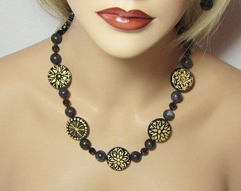 Black Gold Glass Opaque Hand Painted Statement Necklace