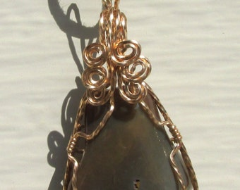 Tumbled Agate wire wrapped pendant