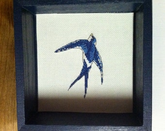 Blue Swallow Cross Stitch Shadowbox