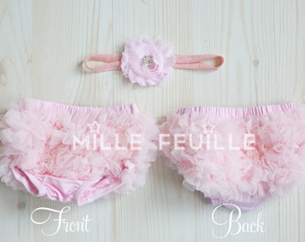 Ruffle Bloomers - Pale Pink - FRONT & BACK chiffon ruffles and Flower Headband with crystal for newborn baby ballerina pink with crystal