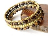 Beaded bracelet stack - stacking natural wood, stone & glass bead bangles