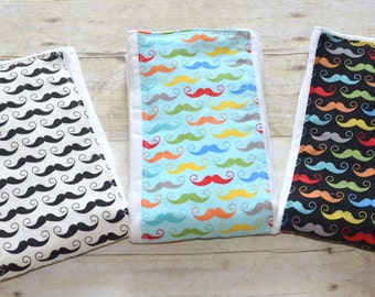 Mustache Geekly Chic Burp Pad Your Choice   5.00 Each