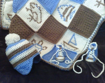 Baby Gift Set, Crochet Baby Blanket, Baby Earflap Hat, and Tennis Shoe Booties in Blue and Brown