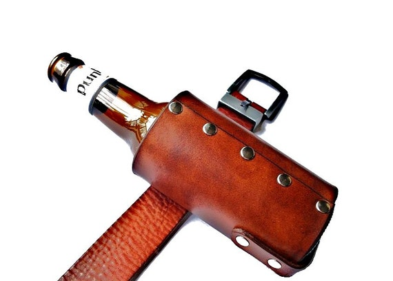 Customizable Leather Beer Holster with Universal Belt Clip - Third Anniversary Gift - Valentine's Day Present - Best Man Gift - Gift Wrapped