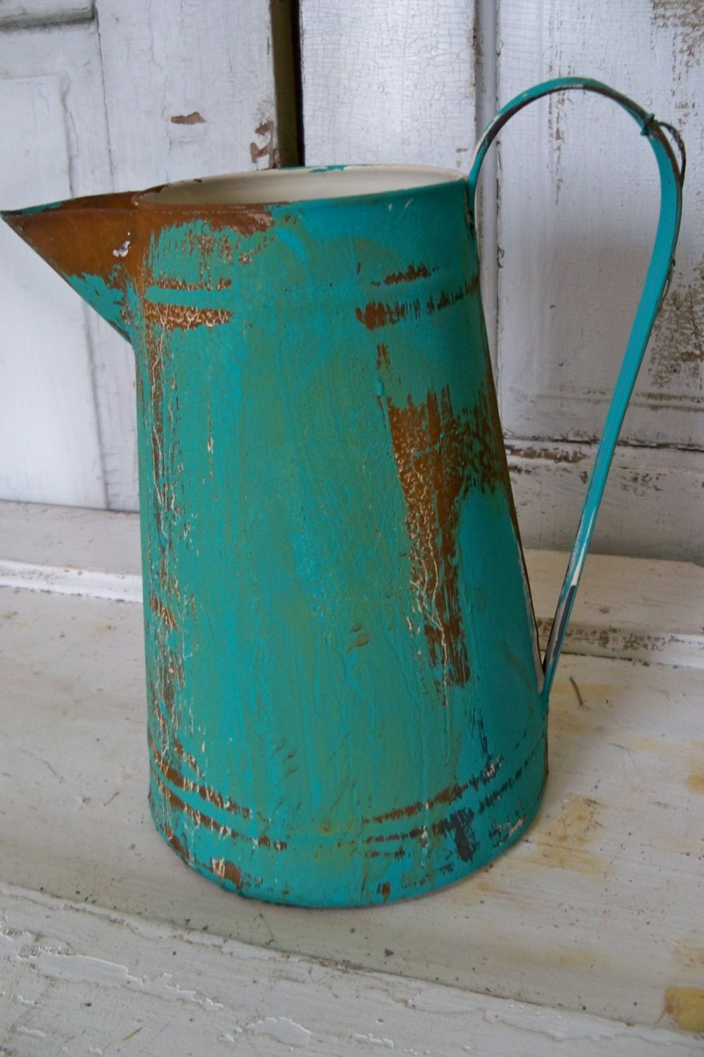 Rusty Metal Pitcher Vase Aqua Caribbean Blue Home Decor Anita