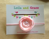 Pink Satin Poppy Headband-Baby Headband, Toddler Headband, Newborn Headband