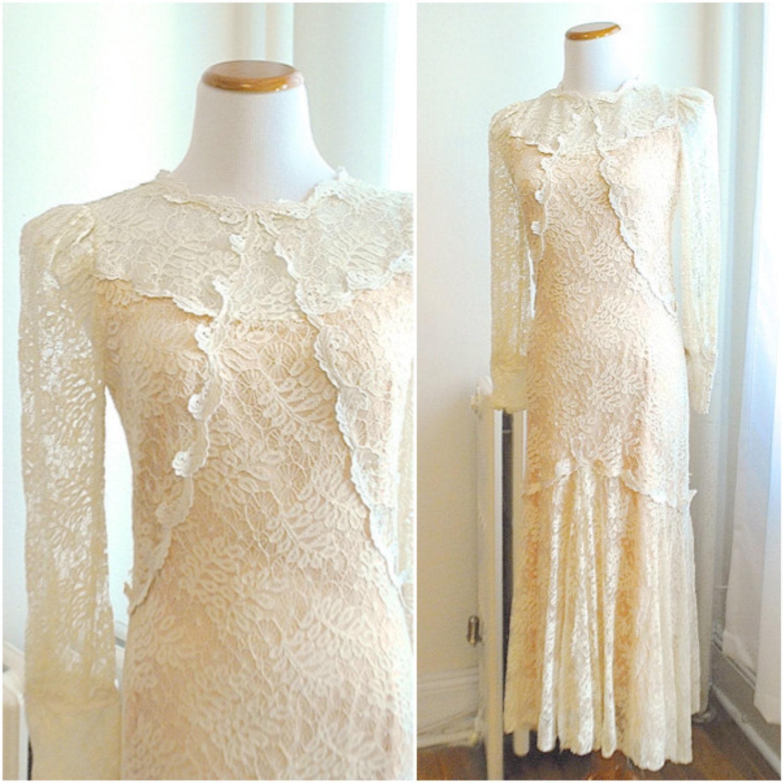 SALE Vintage 1970s Wedding Dress Bohemian Victorian Lace