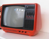 Vintage Portable Television from Aristona in Orange color