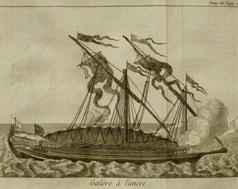 1756 Antique print of a WARGALLEY. GALLEY. Warship. Galleys. Galleon. 258 years old gorgeous copper engraving