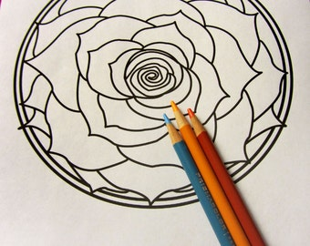 Lotus Flower Mandala Coloring Page single page to print and