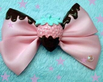 Kawaii Pink Chocolate Covered Strawberry Bow Hairclip