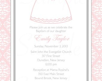 Personalized Baby Girl Baptism / Christening /First communion Invitation & Tag Set -Printable DIY