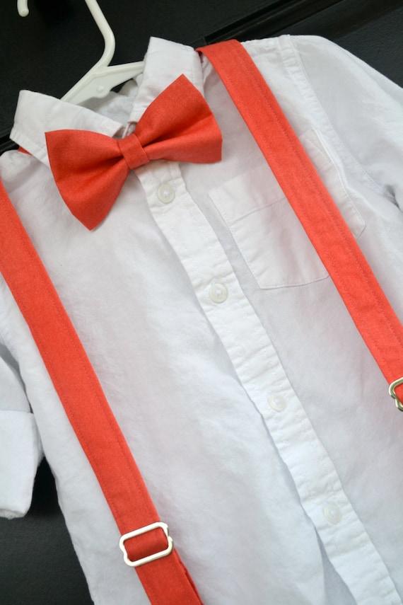 boys coral bow tie child coral suspenders coral reef bowtie