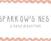 Sparrow's Nest Web Font - hand drawn font - instant download - sweet hand made font for commercial or personal use