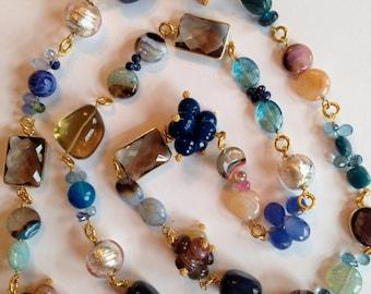 Blue Peach Statement  Necklace, Pink Peach Blue Sapphires, London Blue Topaz, Blue Opal, Murano Glass, Botswana Agate Bezel Set Connectors