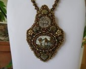 Landscape Linda Marie Cabochon, Antique Bronze Deer Button, Picasso Leaf Beads, Bronze Flower Beads Woodland Beaded Embroidery