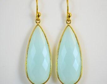 Elongated Aquamarine Gemstone Earrings, Elegant Aqua Chalcedony Earrings, Seafoam Chalcedony Earrings, Drop Earrings, March birthstone