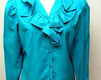 Vintage Ruffled Button Down Shirt Womens Rhoda Lee 1970s Medium