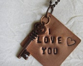 "Copper ""I love You"" Hand Stamped Necklace with Key"