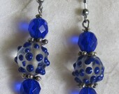 Cobalt Blue Bumpy Lampwork Beads/Cobalt Czech Faceted Round Earrings