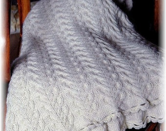 "Throw Blanket / Afghan ""Larch"" - hand knit in warm natural and undyed Royal Alpaca, with cables, home decor - MADE TO ORDER"
