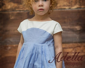 Girls, Toddlers, Babies, Cap Sleeve Dress  -Classic White Floral with Chambray