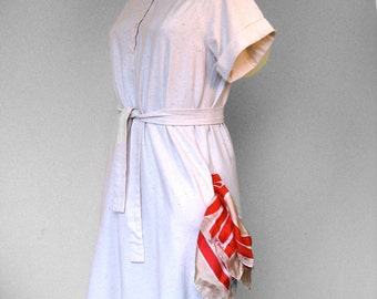 70s  Shirt Dress, Oatmeal Cotton with Pockets and Sash Belt, s/m