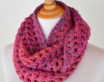 Infinity Pink Crochet Scarf